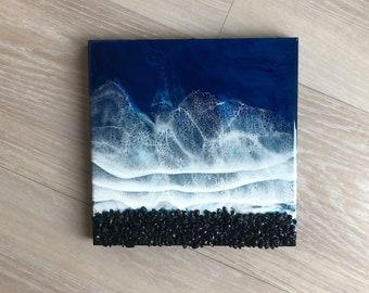 """10""""x10"""" Resin Black Rock Beach"""