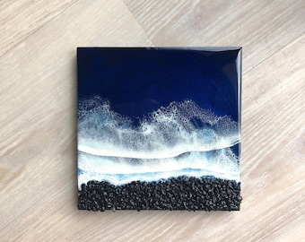 "10""x10"" Resin Black Rock Beach, Resin Wall Art, Resin Wood Panel Artwork, Resin Beach Scene, Resin Art, Ocean Art, Beach Art"