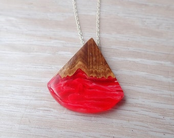 Burl Wood and Red and White Resin