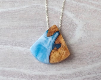 Burl Wood and Blue and White Resin