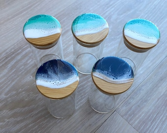 Small glass container with bamboo lid