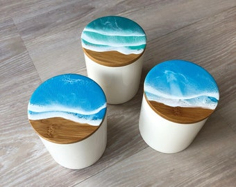 Resin Wave Ceramic Container (Large)