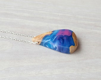 Burl Wood and Blue, Pink and white Resin