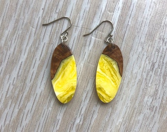 Burl Wood and Yellow Resin Earrings