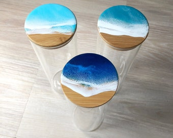 Tall resin wave glass container