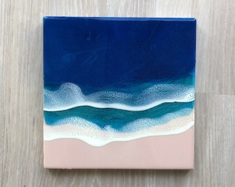"10""x10"" Resin Beach Art, Wall Art, Wood Panel Artwork, Resin Beach Scene, Resin Art, Ocean Art, 10""x10"" Wall Art"