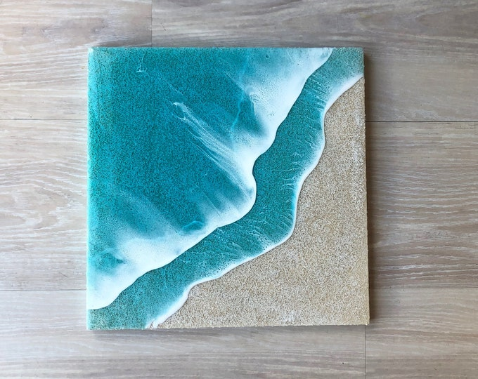 """Featured listing image: 16""""x16"""" Resin Beach Art"""