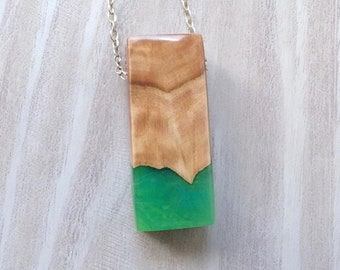 Burl Wood and Green Resin