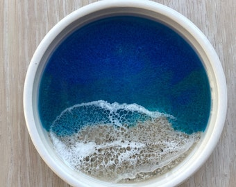 Trinket Tray, Ring Dish, Trinket Dish, Jewelry Dish, Ceramic Resin Dish, Ocean Art, Beach Art, Beach Dish, Resin Art, Functional Art