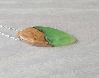 Burl Wood and Green Resin