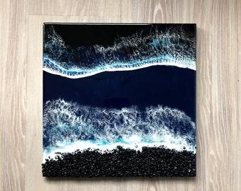 """16""""x16"""" Resin Beach Art, Wall Art, Wood Panel Artwork, Resin Beach Scene, Resin Art, Ocean Art, 16""""x16"""" Wall Art, Black Rock Beach"""