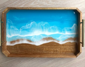 Decorative Mango Wood and Resin Tray