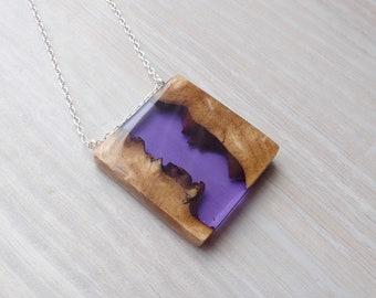 Australian Burl Wood and Purple Resin