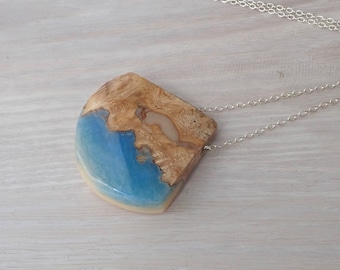 BurlWood and Blue and Beige Resin