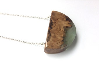 Burl Wood and Green and White Resin
