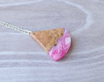 Burl Wood and Pink and White Resin