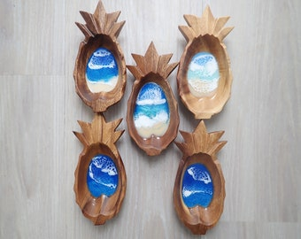 Pineapple Resin Wood Bowl