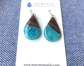 Koa wood and resin earrings