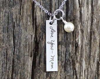 Personalized Engraved Handwritten Bar Necklace Engraved Handwriting Bar Necklace Handwritten Engraved Jewelry Engraved Handwriting Jewelry