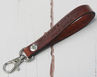Keychain leather longitude latitude engraved Key ring Personalized Leather key fob custom leather keyring key chain key ring