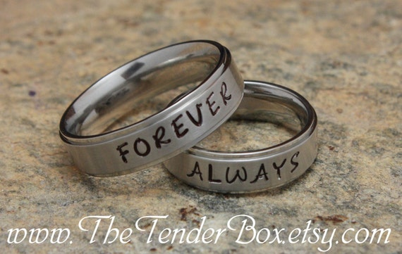 Forever Always Personalized Ring Wedding Band Couples Jewelry Etsy
