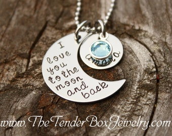 I love you to the moon and back necklace Personalized moon and back necklace name pendant necklace
