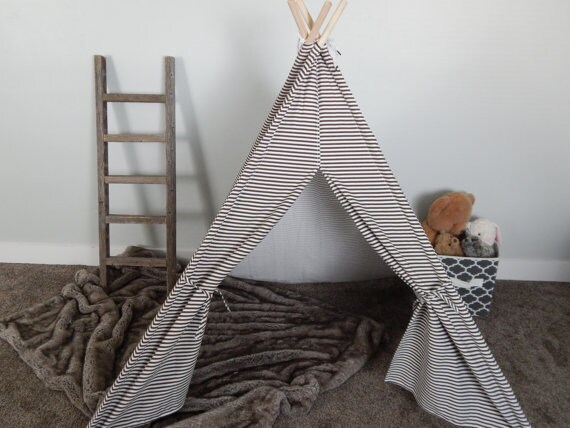 low priced bdbd2 093f7 Teepee Play Tent for Kids in Small Brown and White Stripe Ready to Ship