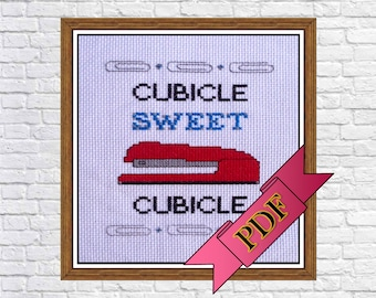 Cubicle Sweet Cubicle Cross Stitch Sampler (PDF) Pattern >>> Instant Download