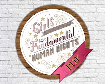 Girls Just Wanna Have Fundamental Human Rights (PDF) Cross Stitch Pattern >>> Instant Download