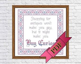 Buy Curios Cross Stitch Sampler (PDF) Pattern >>> Instant Download