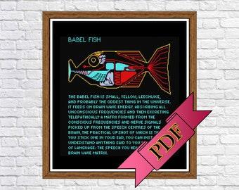 Hitchhiker's Guide Babel Fish Cross Stitch Sampler (PDF) Pattern >>> Instant Download