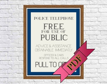 """Police Box (""""TARDIS"""") Sign Cross Stitch Pattern [Doctor Who] (PDF) >>> Instant Download"""