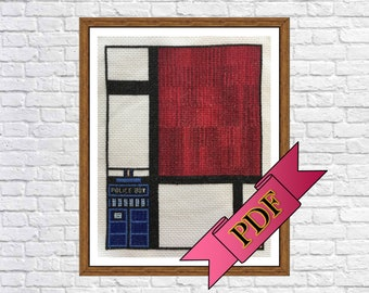 Dr. Who / Mondrian's Composition in Red, Blue, and Yellow Cross Stitch Sampler (PDF) Pattern >>> Instant Download