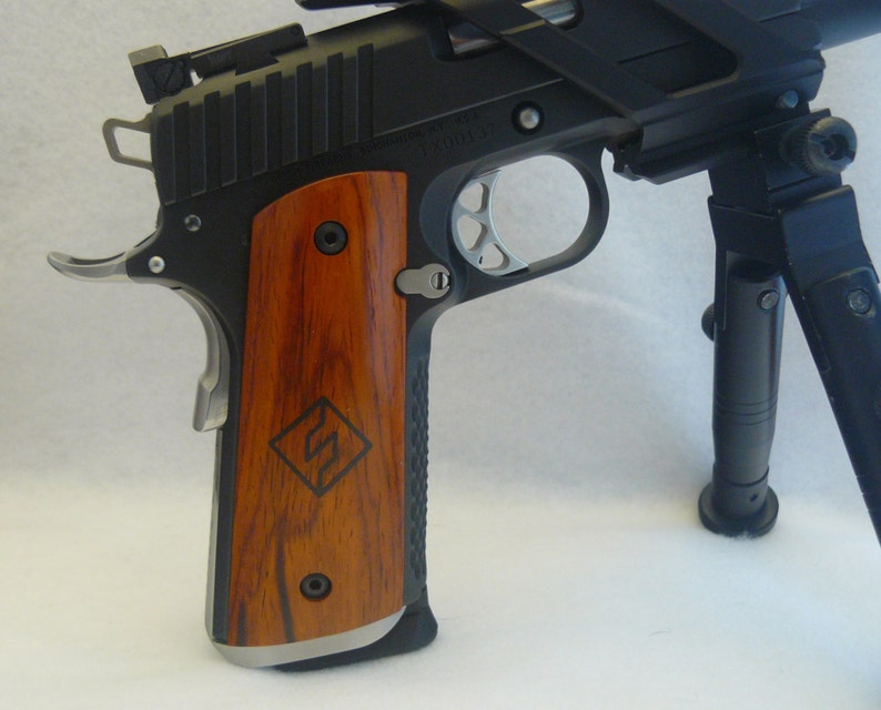 Exotic Cocobolo Wood 1911 gun grips with Fusion Firearms logo