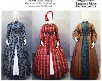 Ladies Wrapper, Work-dress, Morning Gown or Maternity Dress sizes 6-34 Laughing Moon Sewing Pattern #118 - 1840s-1860s Victorian, Civil War