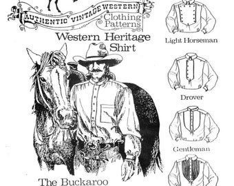 Buckaroo Bobbins Cowboy Western Heritage Shirt Sewing Pattern sizes XS-XXL in 5 Styles 1800s-1900 era