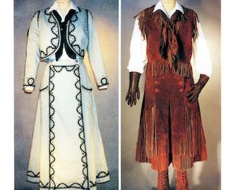 Cowgirl Western Split Skirt, Jacket, Vest, Leggings - Laughing Moon Sewing Pattern 108