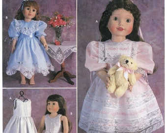 "Vintage Style Dress & Petticoat Clothes for Slender or Standard 18"" Dolls - Simplicity 9560 / 5428 Sewing Pattern"