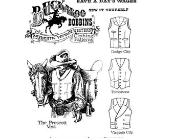 "Men's Cowboy Western Vest in 4 Styles - Chest Sizes 34-58"" - Buckaroo Bobbins Sewing Pattern"