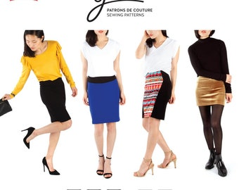 Jalie 3883 Lisette High-waist Pull-on Pencil Skirt Sewing Pattern Mini and Knee Length, 27 sizes Women & Girls