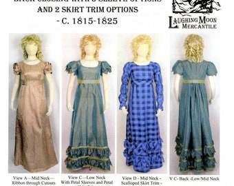 Ladies' Back Closing Regency Gown 1815-1825 era sizes 4-34 Laughing Moon Sewing Pattern # 138