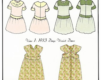 "1913 era Drop Waist Dress & Buttoned Bib Apron for 18"" Doll - Hint of History Sewing Pattern # 301"