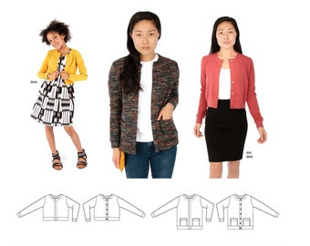 Jalie Charlotte Cardigan with Jewel Neck & Long Sleeves Sewing Pattern # 3900 in 28 Sizes Women and Girls