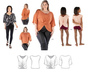 Jalie 4015 Elle Loose-fit  Dolman Reversible Top With Twist Detail Sewing Pattern 28 Sizes Women & Girls