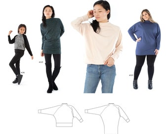 Jalie 4024 Romy Sweater and Tunic Sewing Pattern in 28 Sizes for Women & Girls