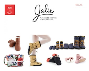 Jalie 4025 Nordik Quilted Booties and Slippers with Travel Shoe Bag Sewing Pattern - Adult, Child & Infant