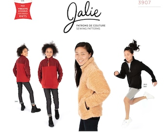 Jalie Alex Half-Zip Pullover Sewing Pattern 3907 - Women's sizes XS-2XL & Girls' 2-13