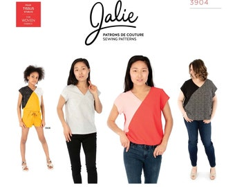 Jalie Alice V-Neck Blouse Sewing Pattern 3904 Women's XS-2XL & Girls' 2-13