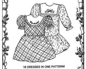 """18 Doll Dresses in 1 Pattern - Primrose Lane Sewing Pattern Heritage Collection 1 for 18"""" Dolls"""