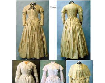 Ladies' 1840s-1852 Round Dresses sizes 6-26 Laughing Moon Sewing Pattern #114 PAPER PATTERN